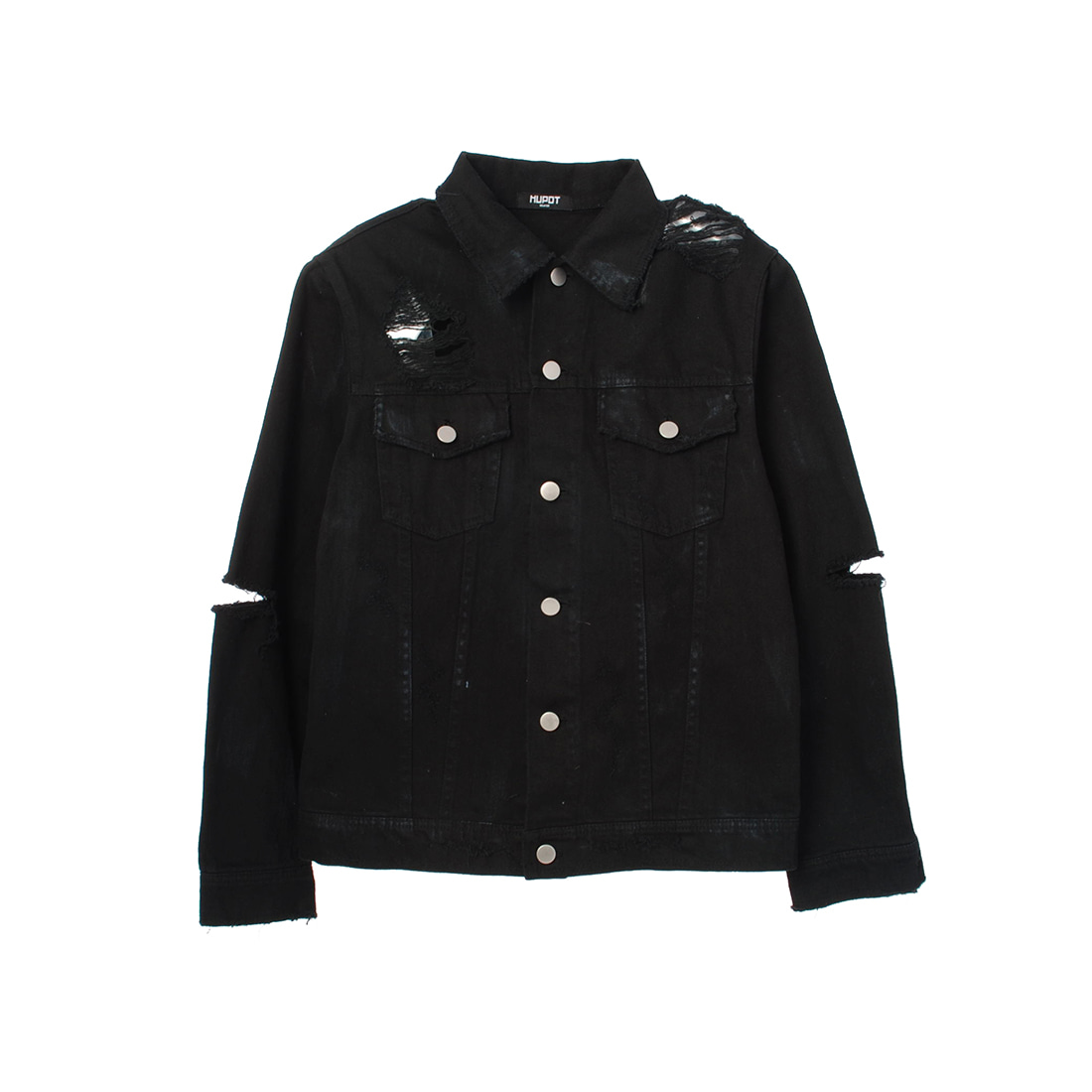 DESTROYED DENIM JACKET BLACK